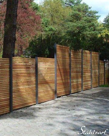 Sichtschutzzaun Holz Lärche Metall anthrazit modern