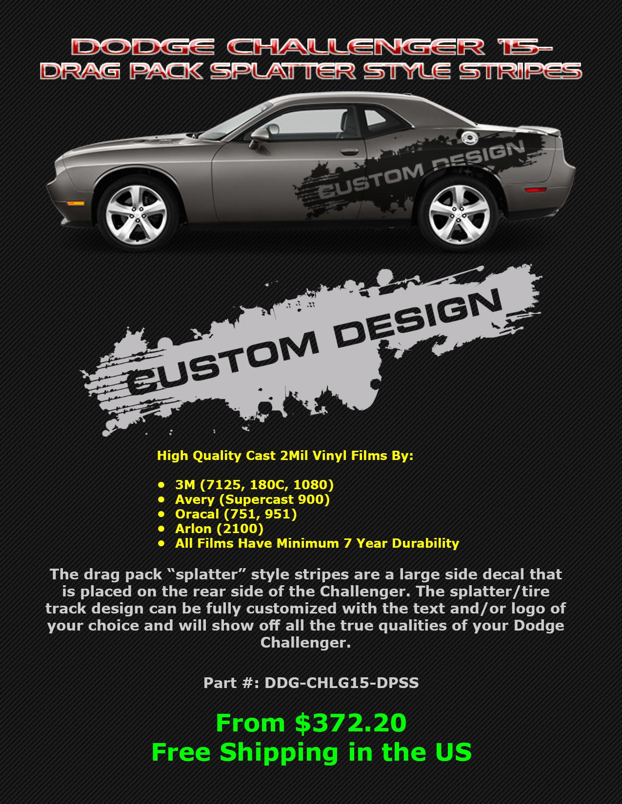2015 2020 Dodge Challenger Drag Pack Splatter Stripes Design