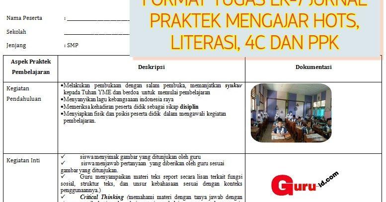 Contoh Lk 7 Jurnal Praktek Mengajar Guru K13 Hots 4c Literasi Ppk Literasi Lagu Belajar