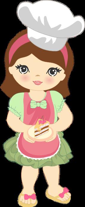 Cute Clipart Girl Baking Minus Cozinheira Desenho Desenho De