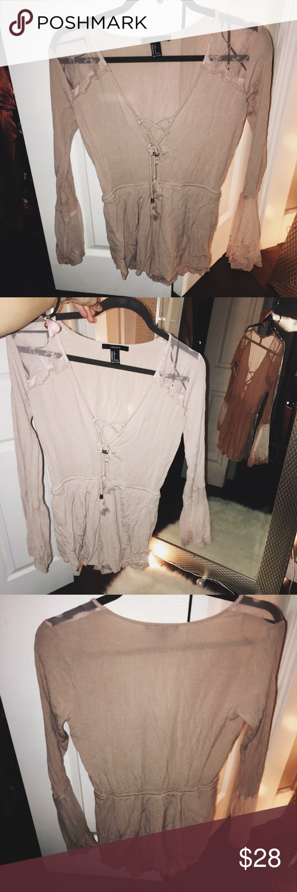 Sheer nude pink romper No flaws. Super cute. Sheer accents on sleeve and shoulder areas. Forever 21 Other