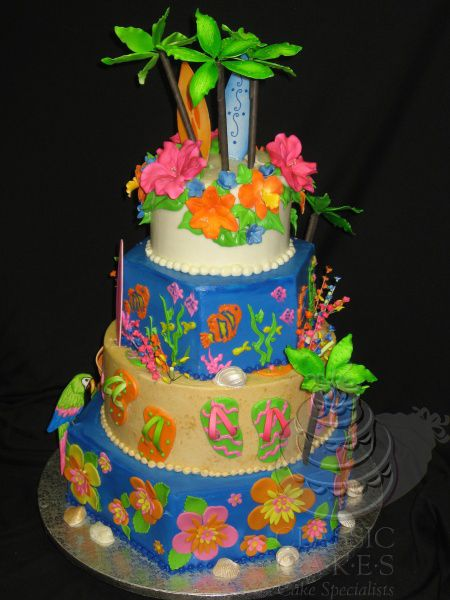 Astounding Custom Cakes For Parties With Images Luau Cakes Classic Cake Funny Birthday Cards Online Fluifree Goldxyz