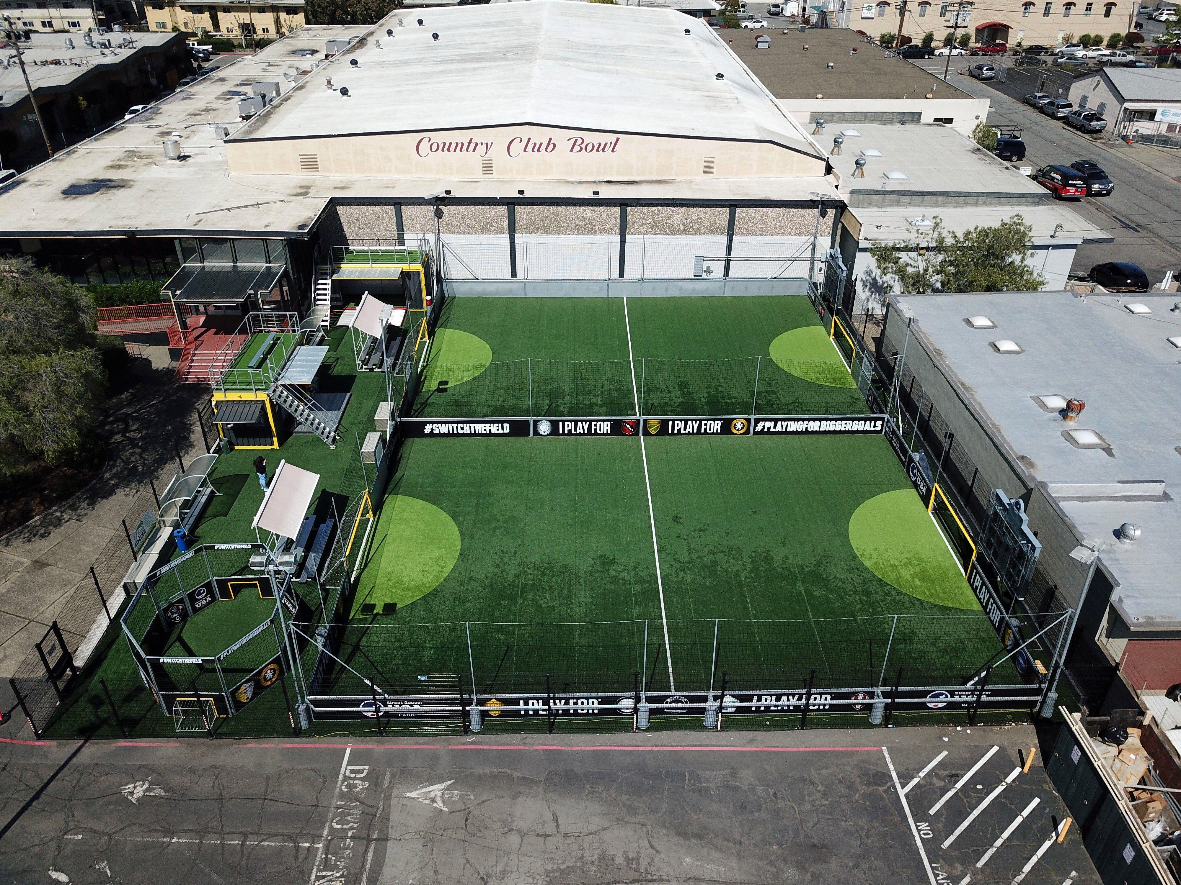 Aerial view of the San Rafael, CA Urban Soccer Park
