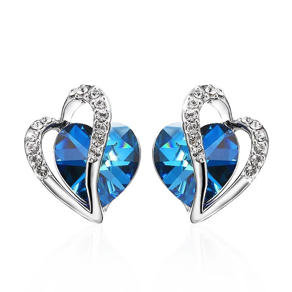 Earrings for women made with swarovski crystal blue heart