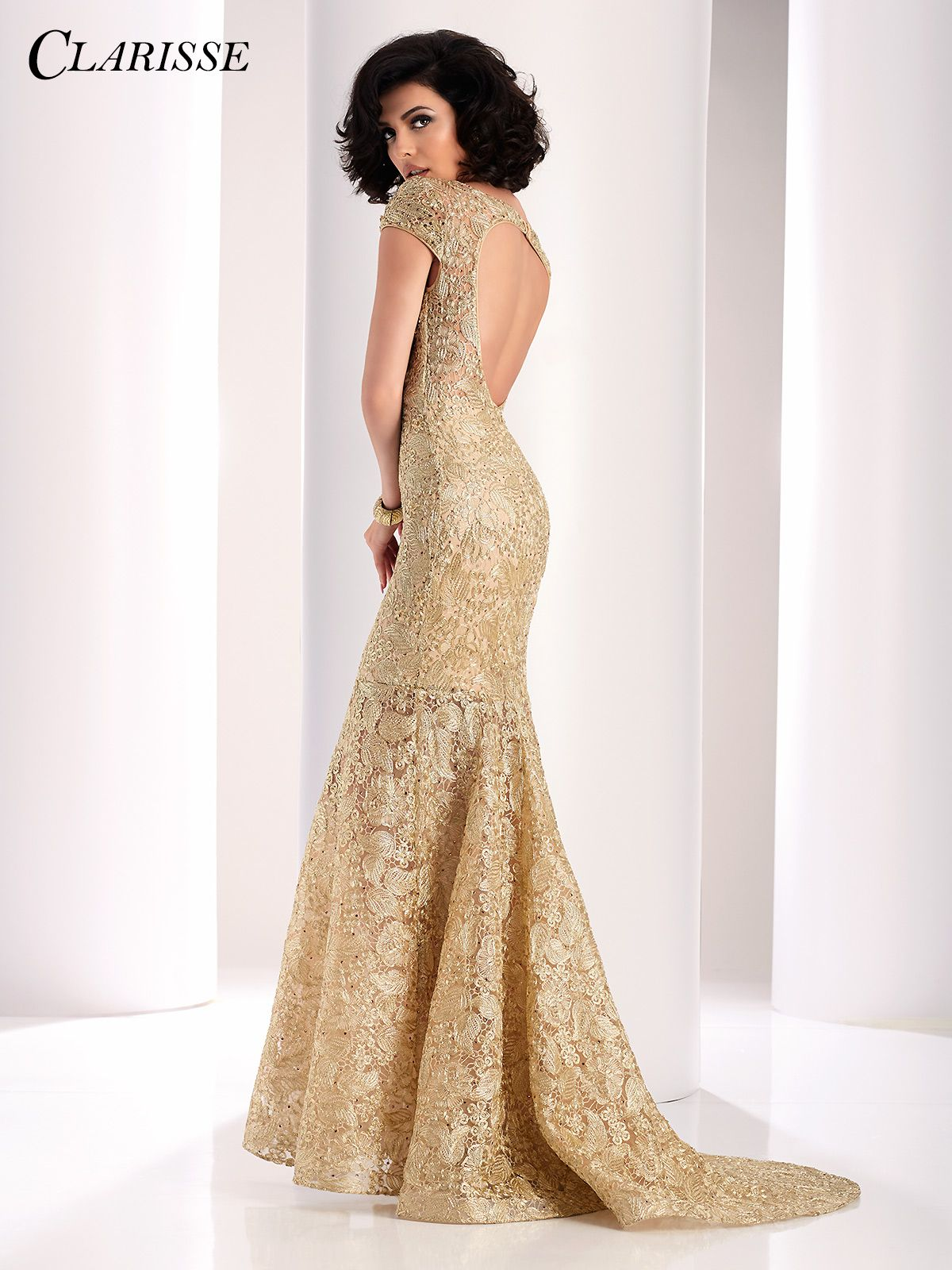 Clarisse Gold Lace Mermaid Evening Gown 4852 | Mermaid evening ...