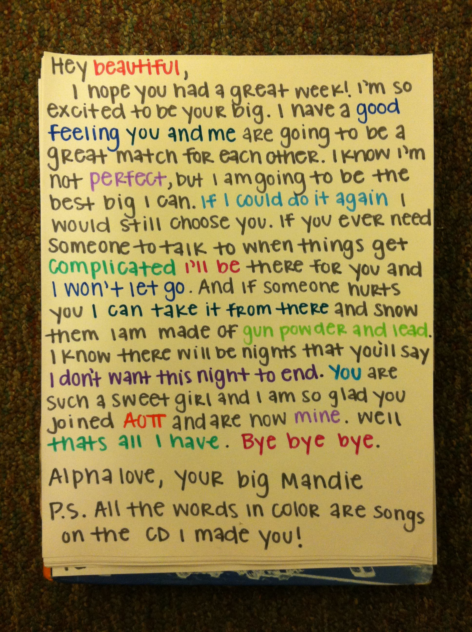note for big little reveal aoii pinterest note big With big and little sorority letters