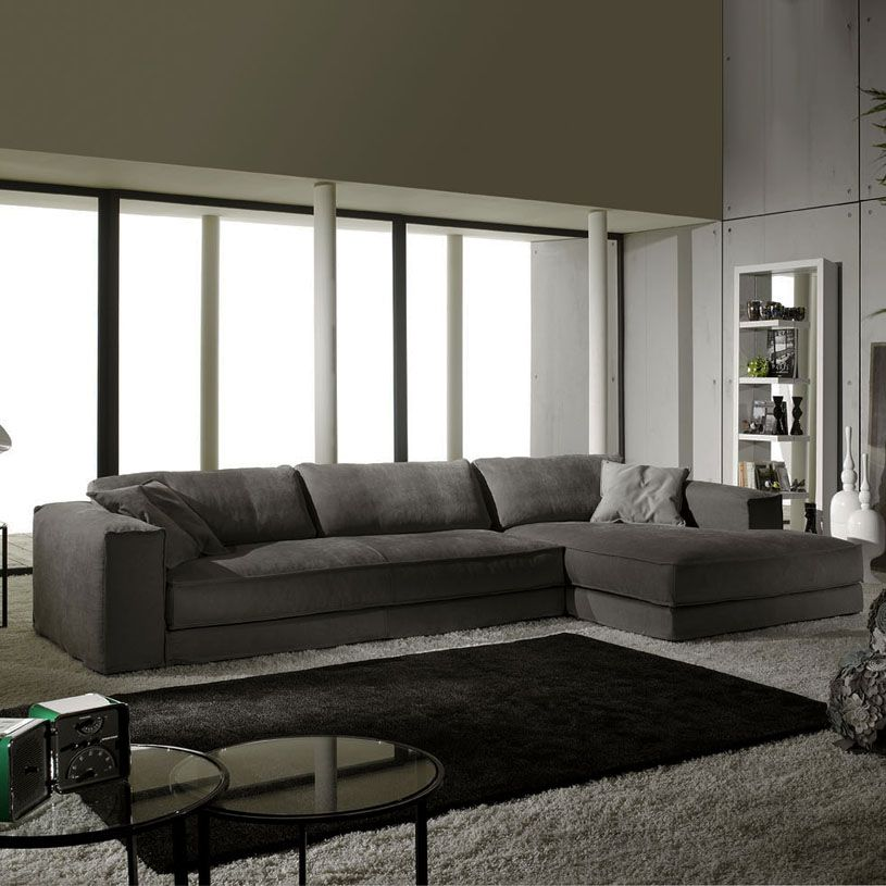 Large Dark Grey Corner Sofa 3 Cuerpos Reclinable Rosen Minerale Modern Italian In Fabric Mi Casa
