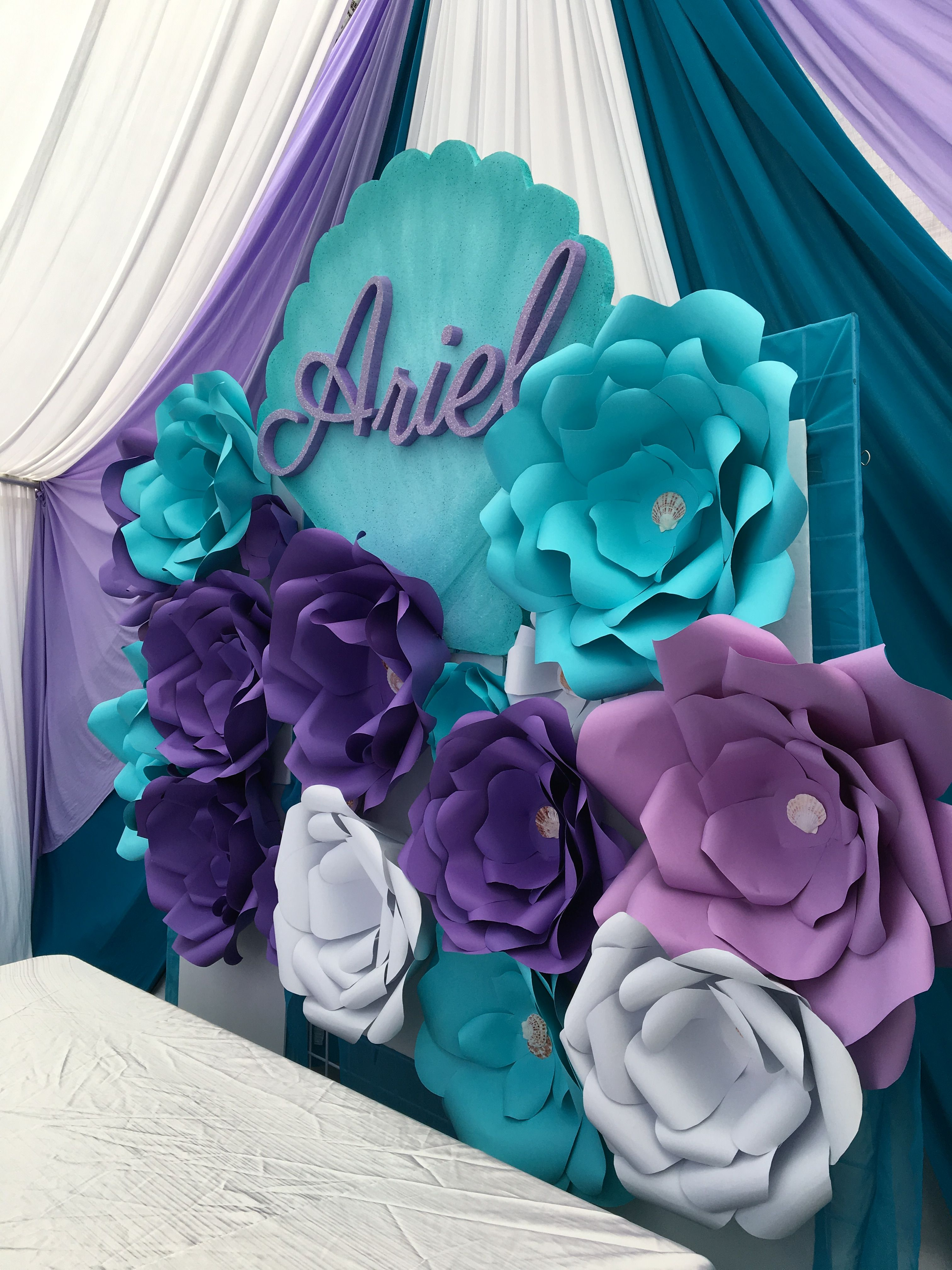 Ariel little mermaid paper flower backdrop birthday party for Baby birthday party decoration ideas