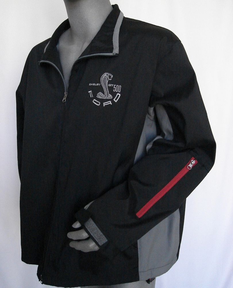 Nwt Shelby Gt500 Ford Mustang Size 2xl Zippered Black Grey Embroidered Jacket Embroidered Jacket Jackets Shelby Gt500