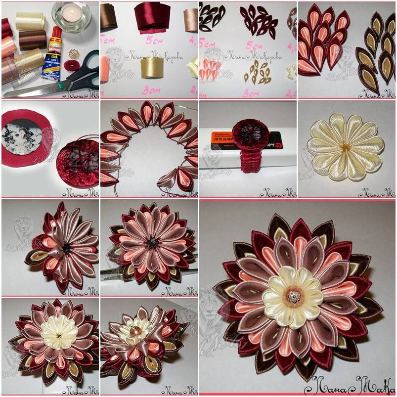 how to make multi layer ribbon flower step by step diy