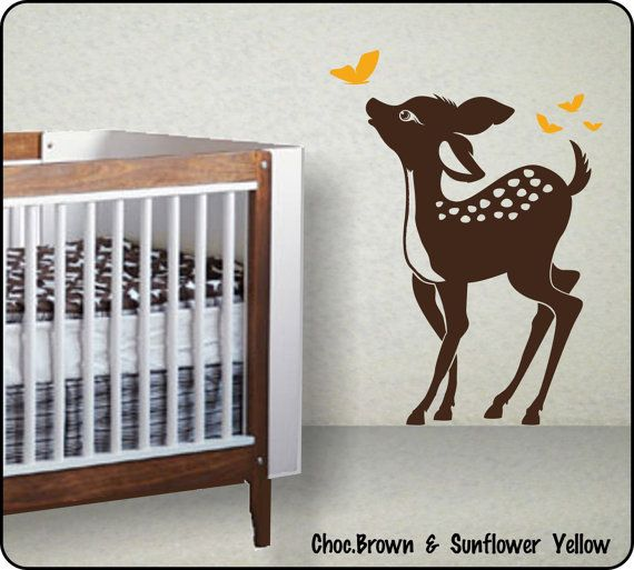 baby deer wall decal bambi & butterflys nurserywallcrafters