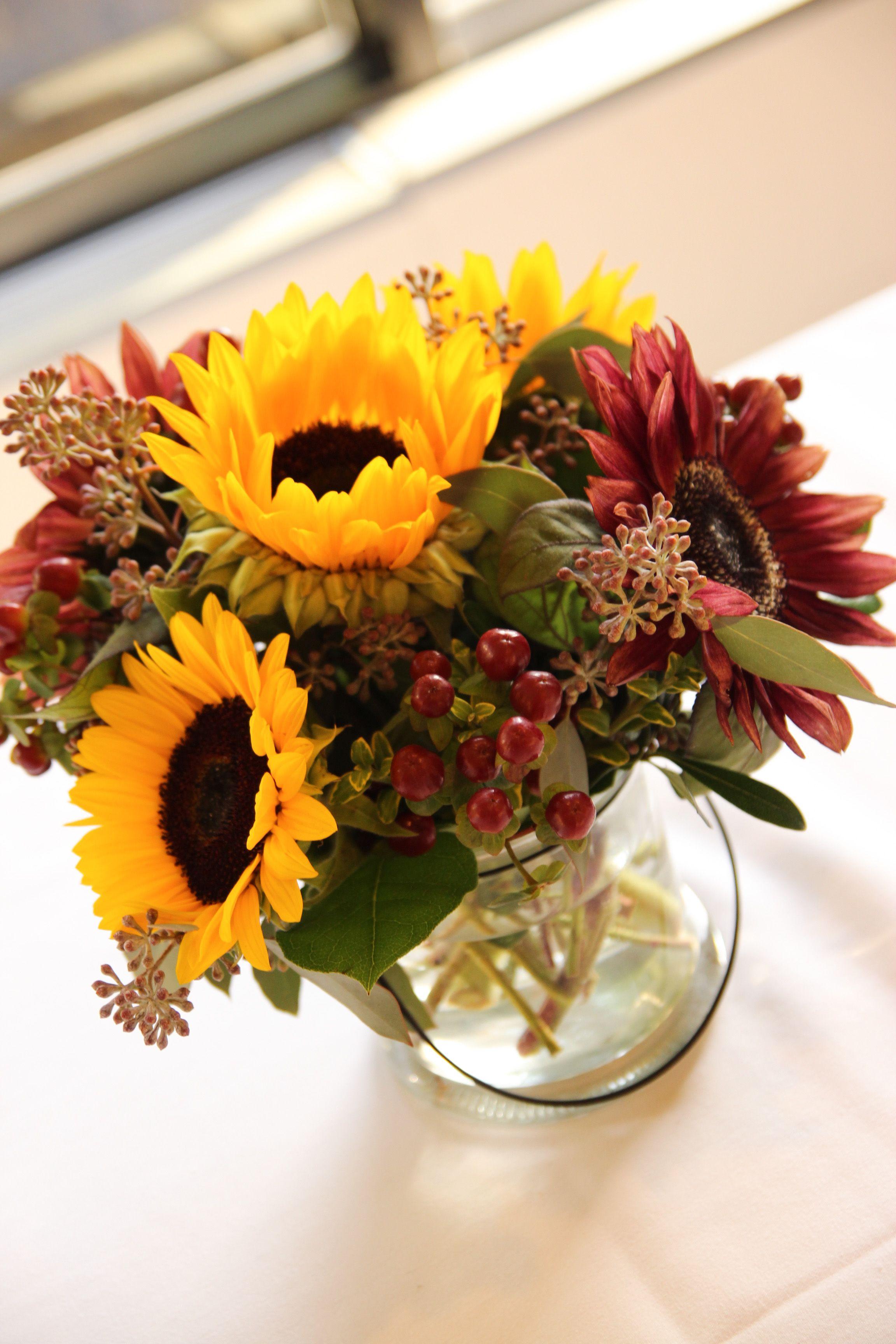 Fall wedding flowers. Brown sunflowers, sunflower