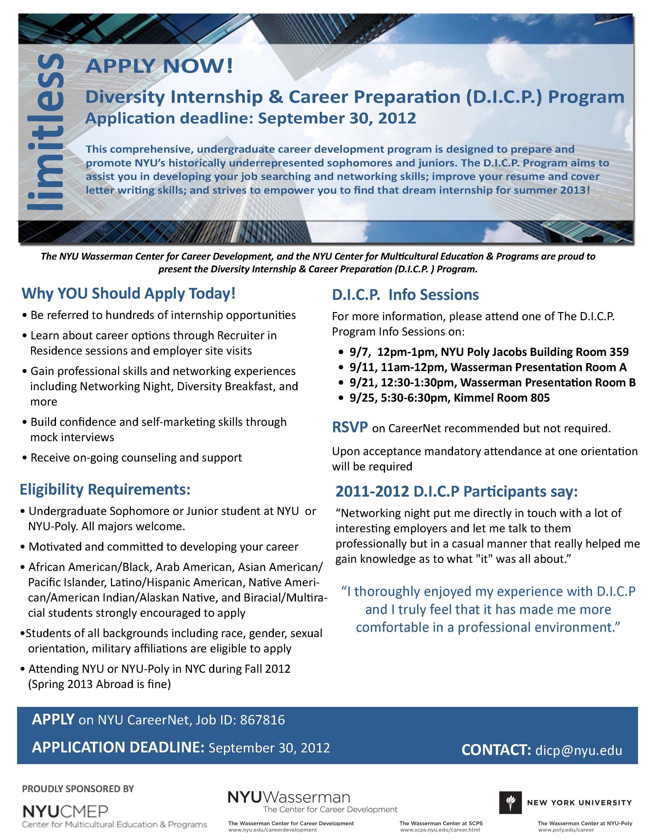 Apply for the Diversity Internship & Career Preparation Program