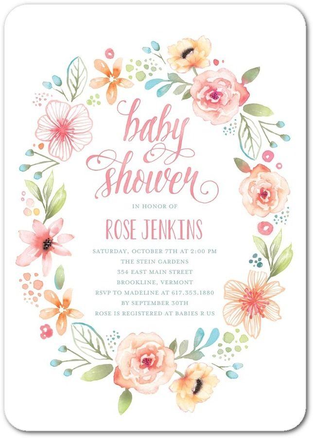 Wild flower wreath baby shower invitations in watermelon lady wild flower wreath baby shower invitations in watermelon lady jae designs filmwisefo