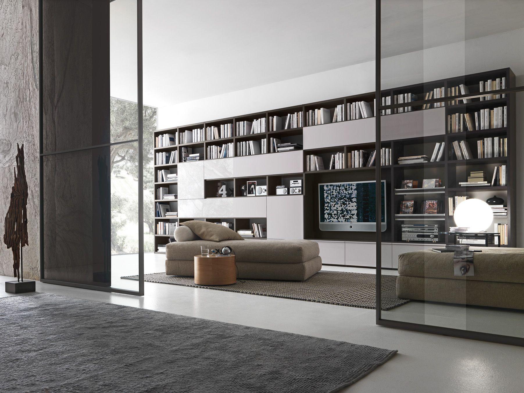 Presotto Pari Dispari Bookcase With A Grey Oak Structure And