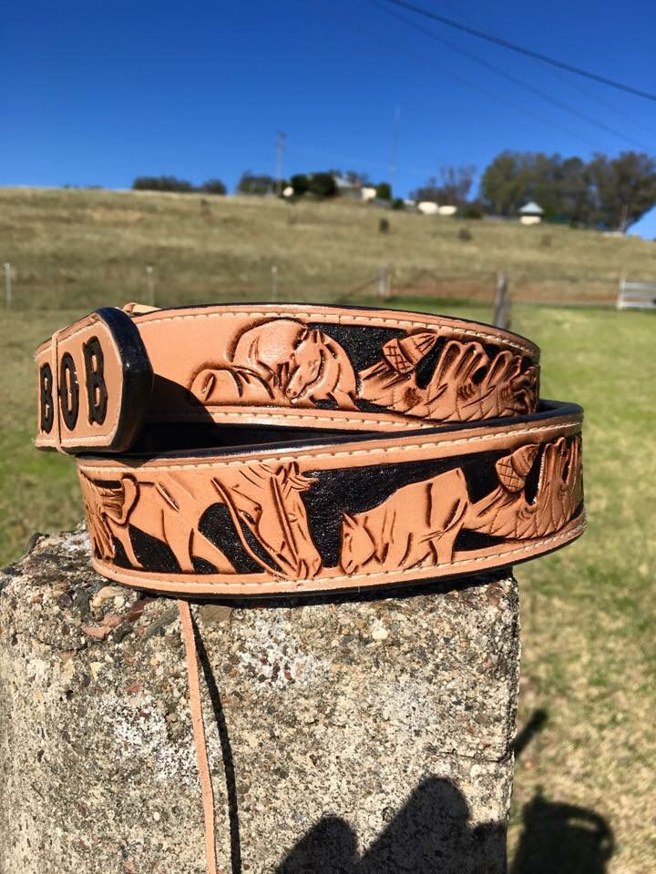 Mens cutting horse belt made by DustyCowgirl Leather  Like us on Facebook