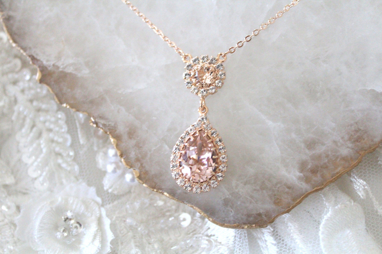 Bridal Necklace Rose gold Necklace Necklace Rosegold Rose gold Necklace for Bridal Bridesmaids Gift Rose gold Bridal Necklace