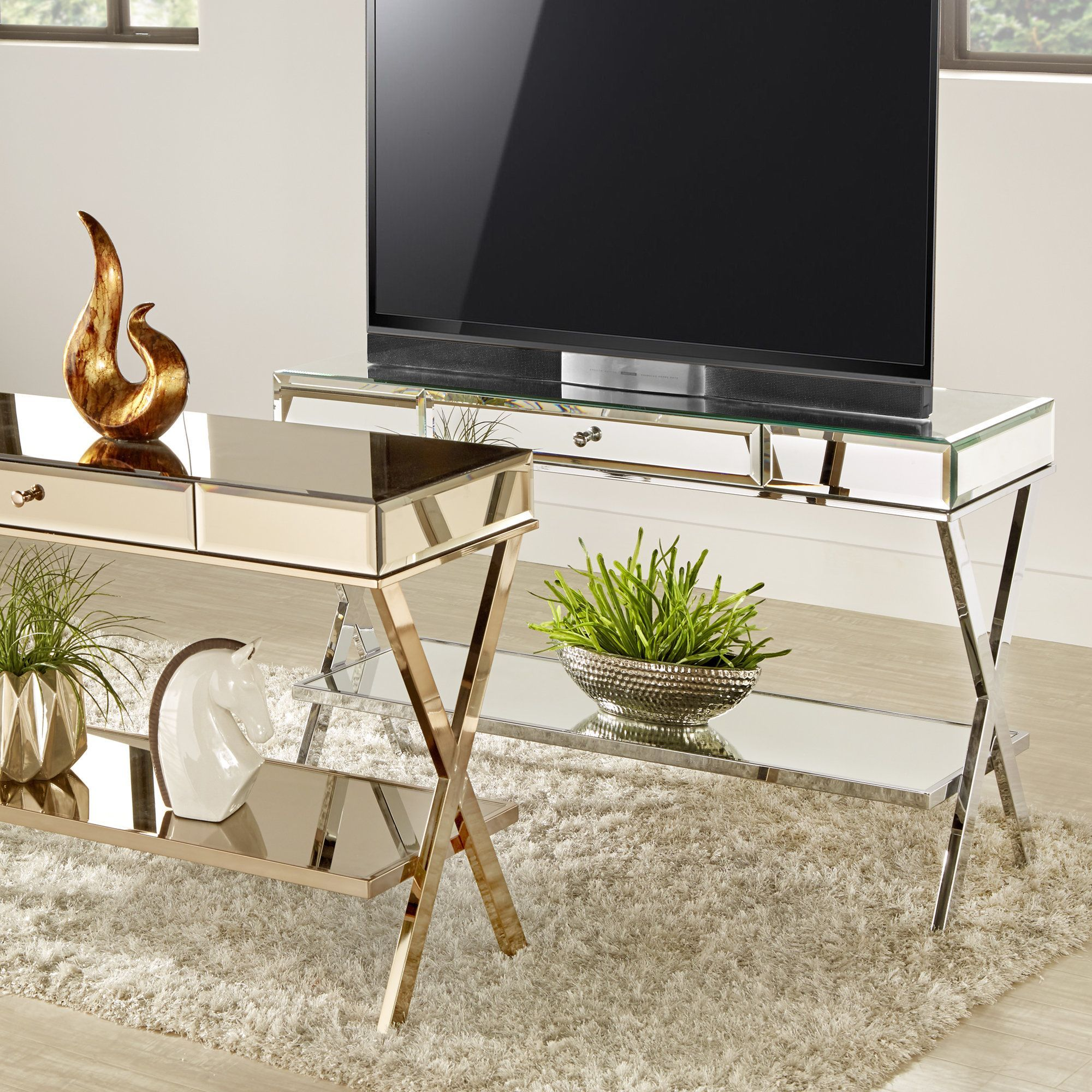 Omni X Base Mirrored TV Stand with Drawer by Inspire Q Chrome