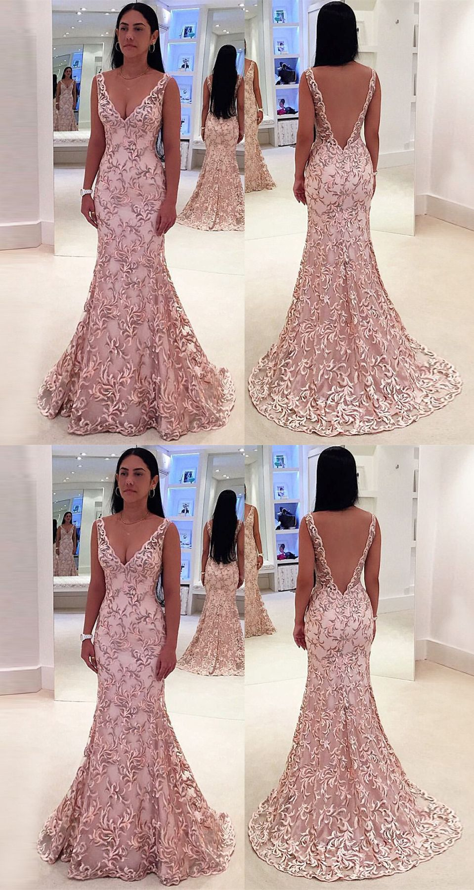 64b23e7121 Mermaid Deep V-Neck Sweep Train Pink Lace Backless Sleeveless Prom ...