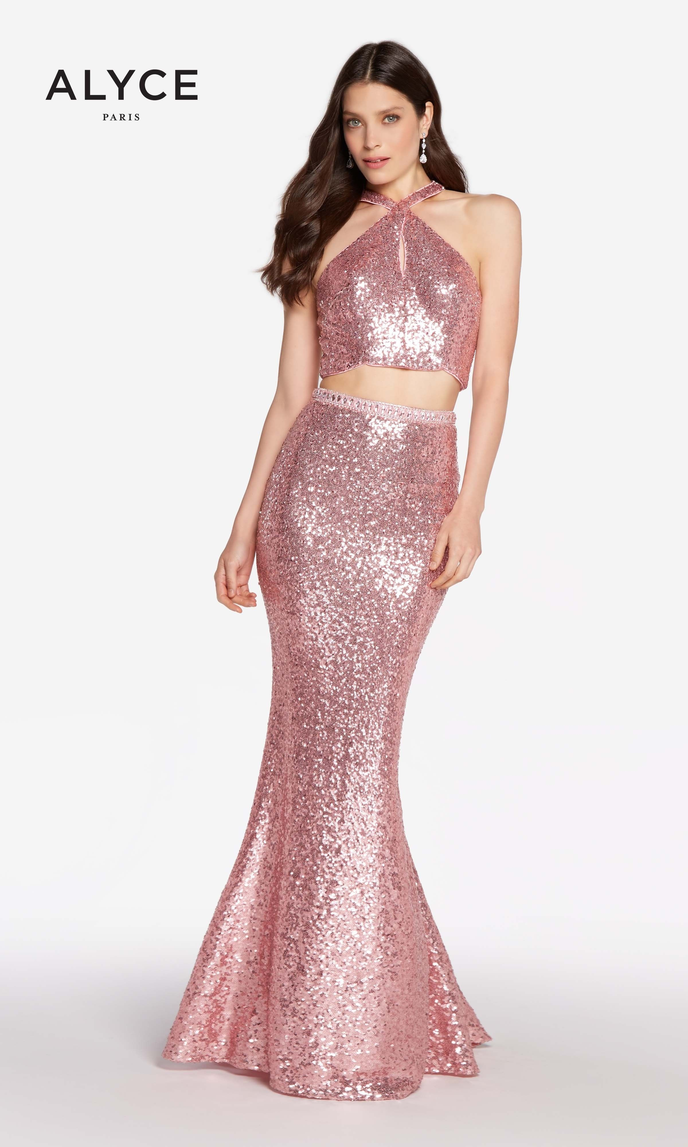 Alyce 60030 Two Piece Sequin Gown With Halter Top and Racerback ...
