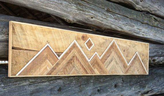 Reclaimed Wood Mountain Range Wall Hanging By Stonehillmillworkco