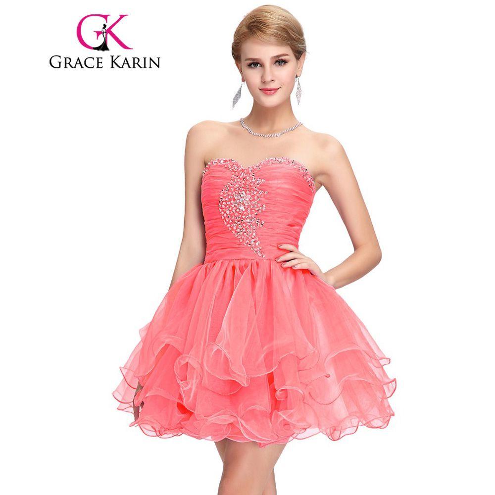 Click to Buy << Short Prom Dress Grace Karin Black Purple Pink ...