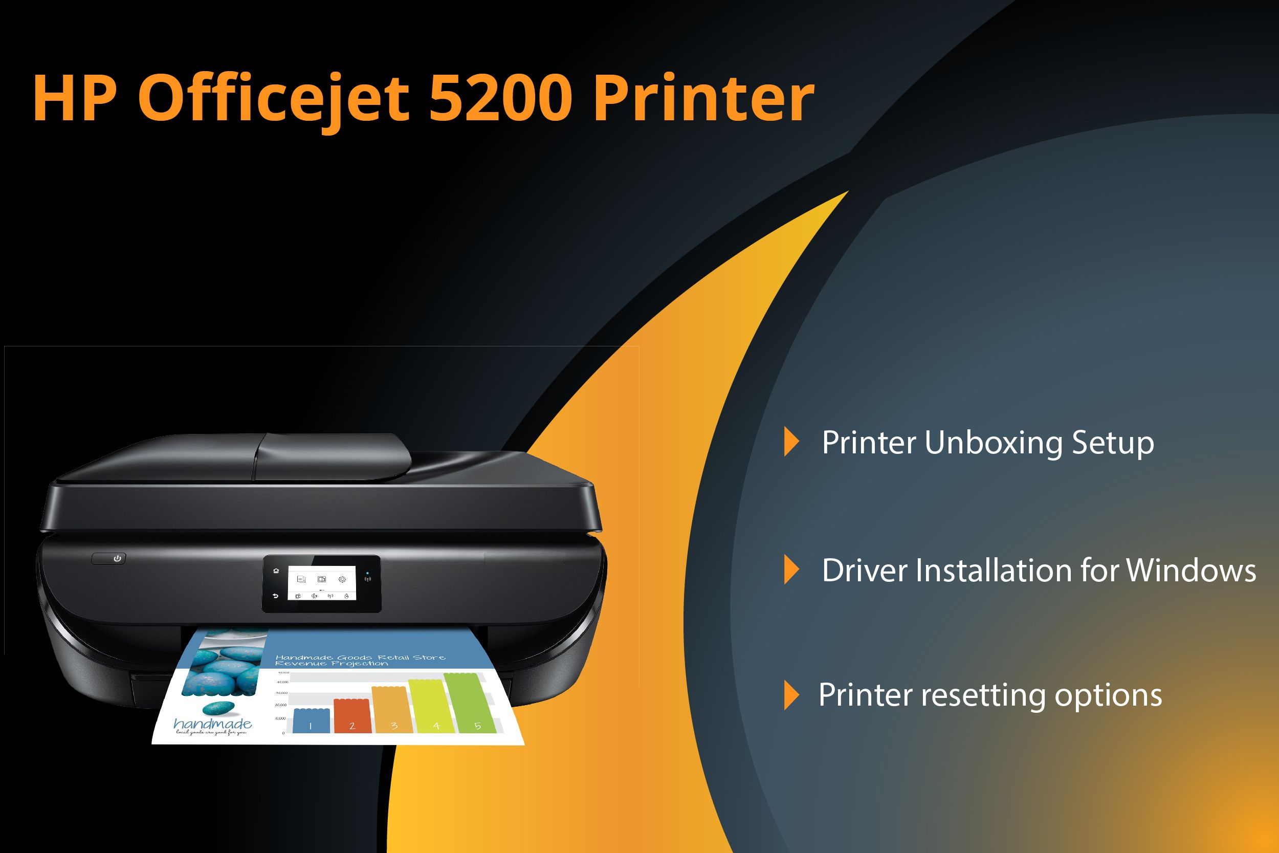 Guidelines for HP Officejet 5200 printer unboxing setup