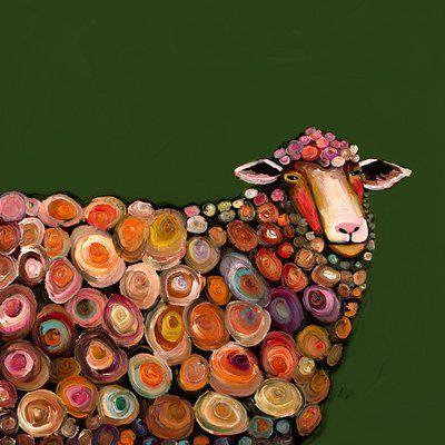 Greenbox Art Lamb By Eli Halpin Print Of Painting On Canvas In Olive Green Size Art Fine Art Giclee Prints Green Wall Art