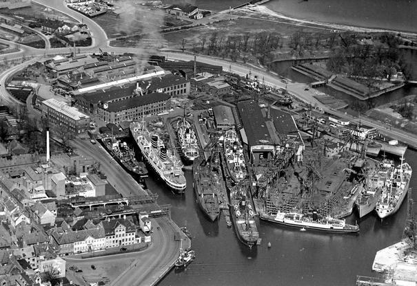 I 100 år blev der bygget skibe på værftet i Helsingør - dengang var der trængsel i havnen. Foto: Arkiv