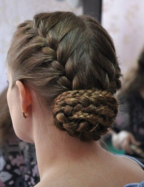French Hairstyles Double French Braid Bun  Braided Hairstyles  Pinterest  Braided
