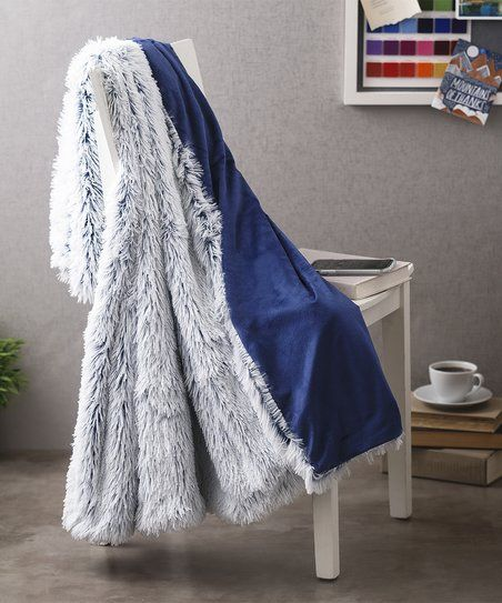 SL Home Fashions Navy Brielle BottomDye Shaggy Throw Zulily Best Sl Home Fashions Throw Blanket