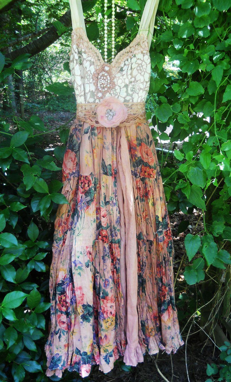 Boho floral dress ruffle cotton tea stained romantic shabby wedding