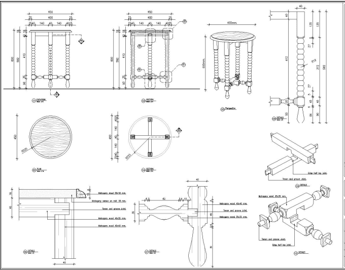 do furniture cad shop drawing