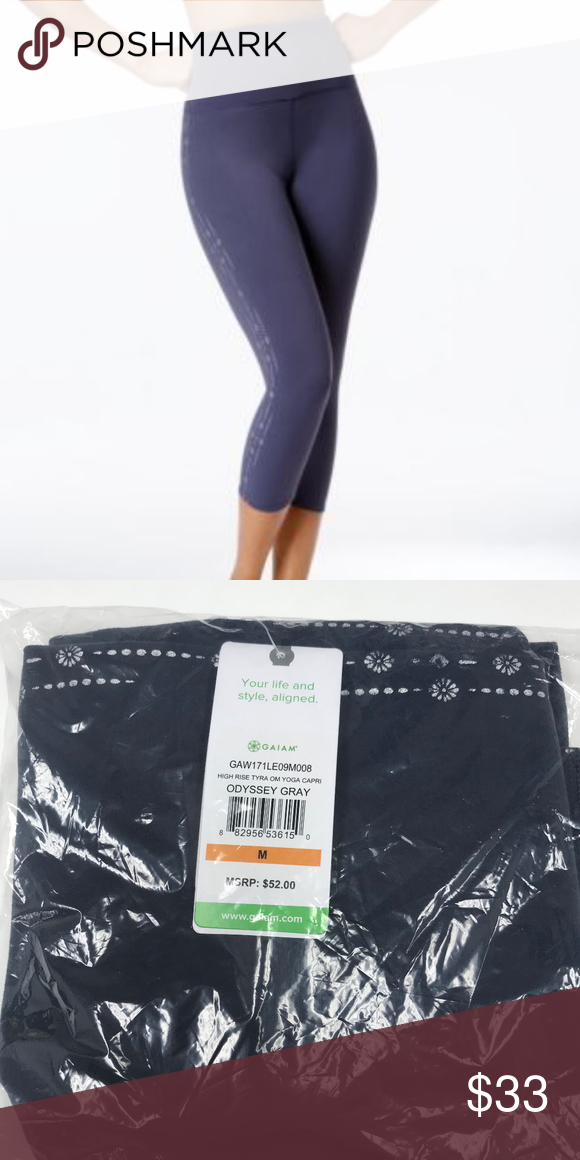 49a7233d0c Gaiam Tyra Om Capri Yoga Leggings Odyssey Gray Stay put waistband. Higher  back rise keeps you covered. Soft touch performance fabric. Machine  washable.