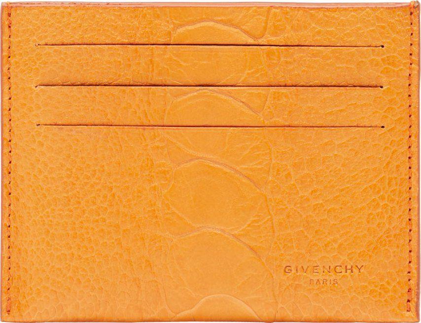Givenchy orange ostrich leather card holder ssense