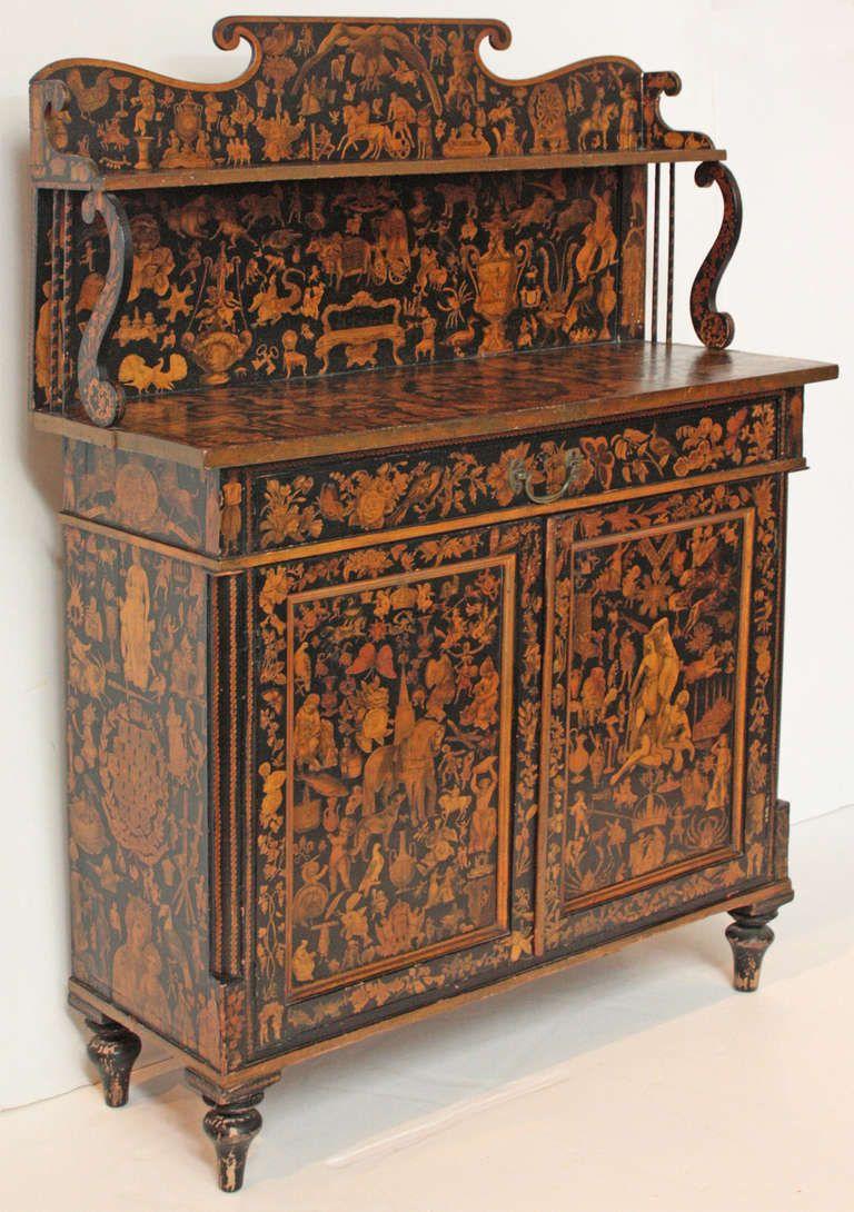 English Regency Japanned Chiffonier Georgian Furniture English Furniture French Decoupage