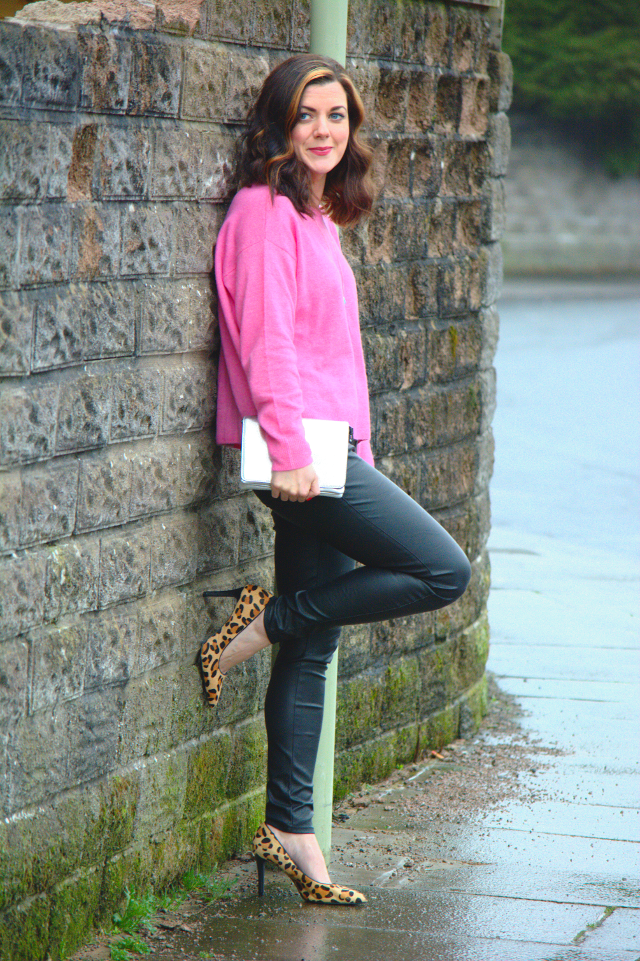 Bright Pink & Faux Leather Trousers (& #Passion4Fashion Linkup) | Rachel the Hat