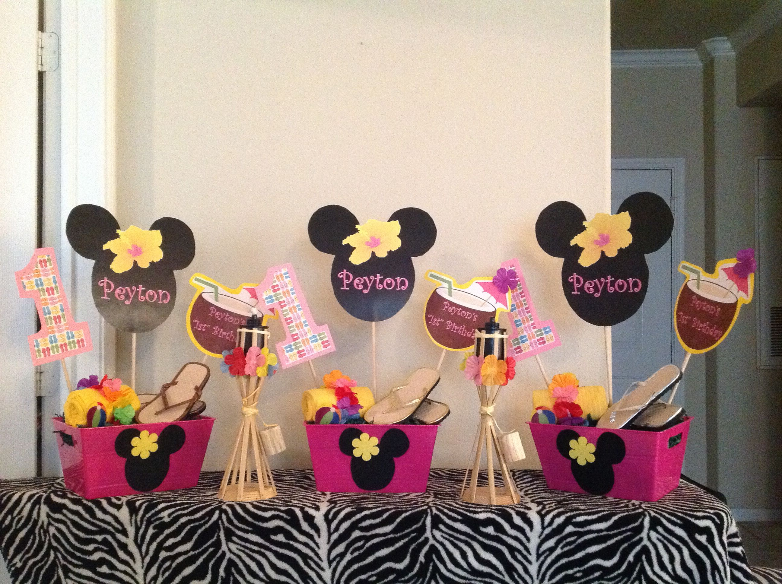 Minnie Mouse Hawaiian Luau 1st Birthday Party Decorations Masters Lucys First