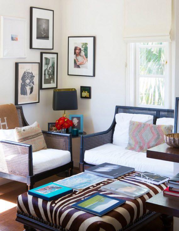 cane furniture in living room // via Lonny Mag #interiordesign #furniture #decorating