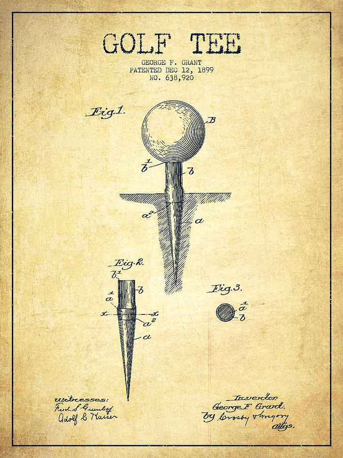 Golf Tee Patent Drawing From 1899 - Vintage Drawing Rooms - best of golf blueprint art