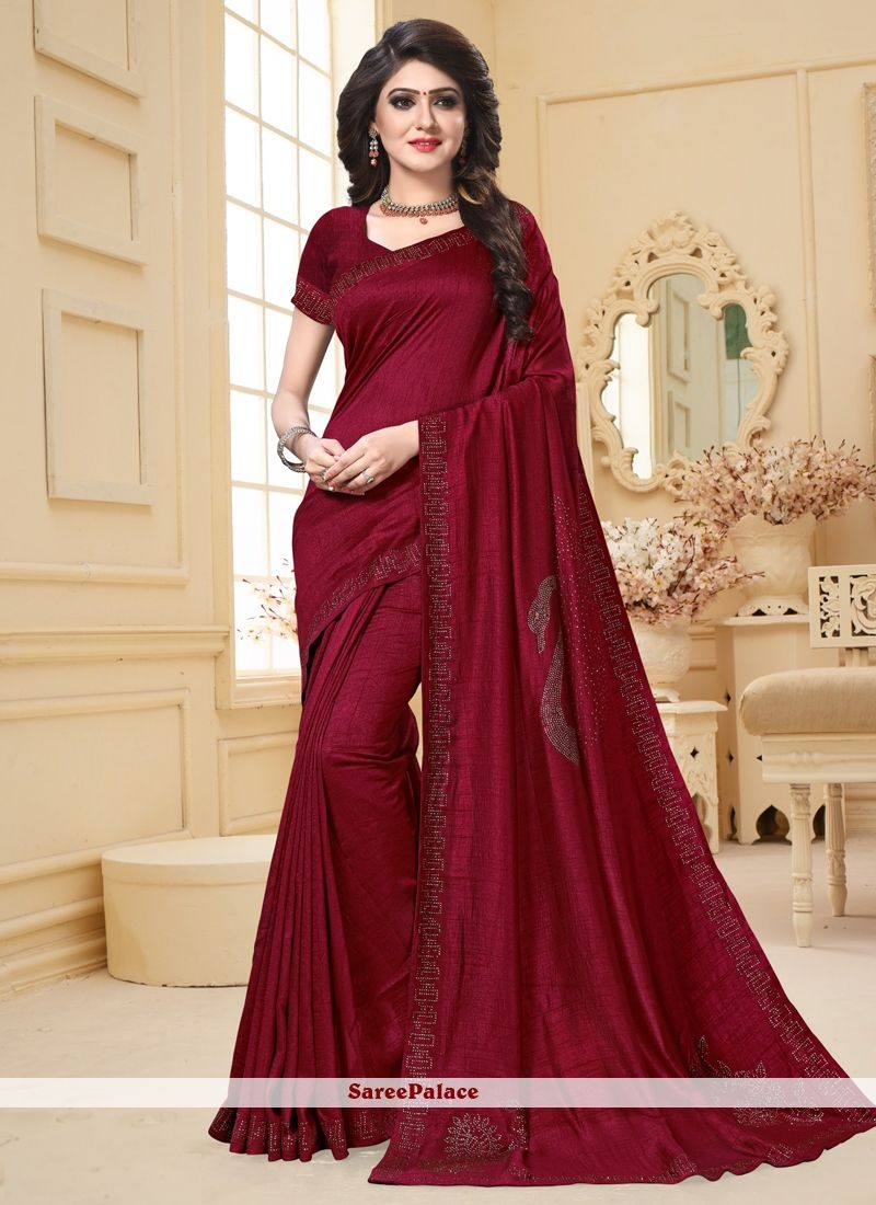 Maroon Art Silk Embroidered Traditional Saree With Images