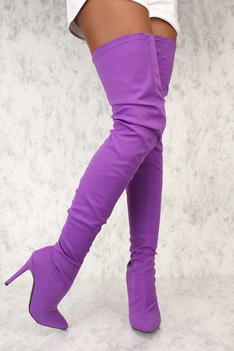 a70595c5f8a Sexy Purple Lycra Pointy Toe High Thigh High Boots