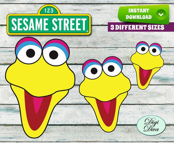 Sesame Street Faces Cut Outs Printables, Large, Medium and Small