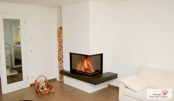 eck s ule heizkamin mit naturstein feuertisch und gemauerter holzlege kamin ofen fireplace. Black Bedroom Furniture Sets. Home Design Ideas