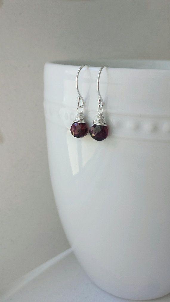 Red Garnet Earrings Small Sterling Silver by BlackwoodArts on Etsy