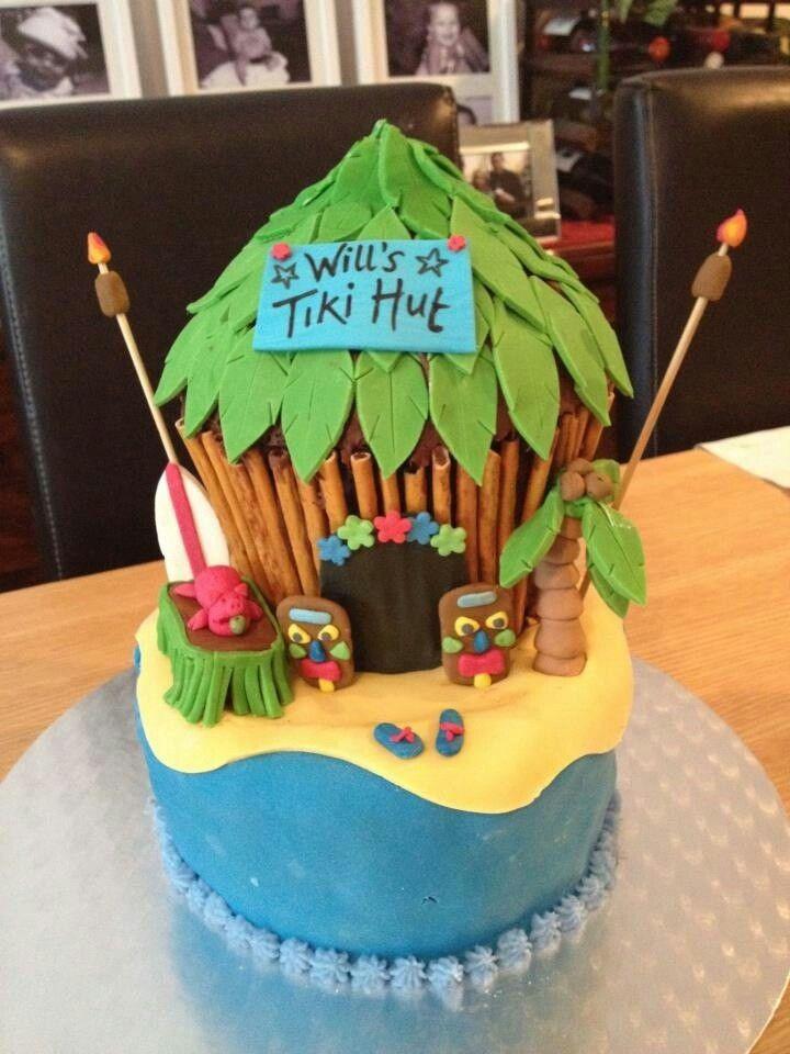 Amazing Tiki Hut Luau Cakes Tiki Cake Pool Cake Funny Birthday Cards Online Elaedamsfinfo