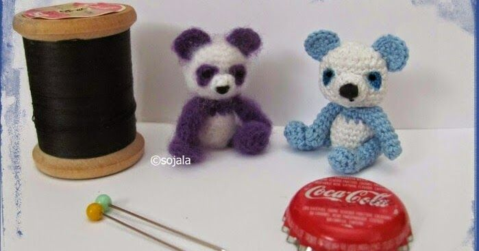 Make this blue and white miniature amigurumi panda with slight modifications to my miniature purple panda pattern...