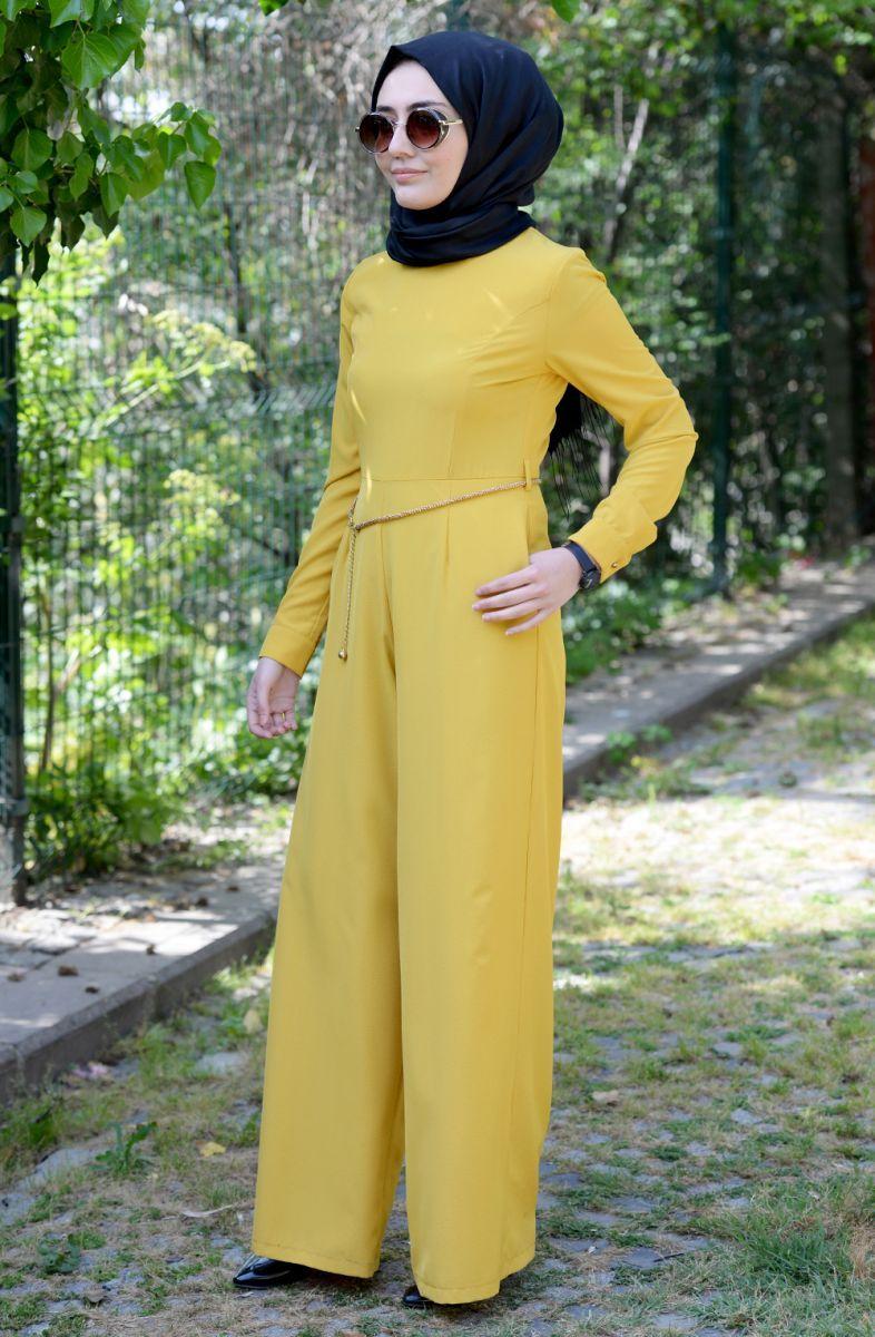 Hulle Cikarilabilir Kemer Detayli Tulum 065 Sari Sitemize Hulle Cikarilabilir Kemer Detayli Tulum 065 Sari Tesettur Elbise Eklenmi Moda Moda Trendleri Elbise