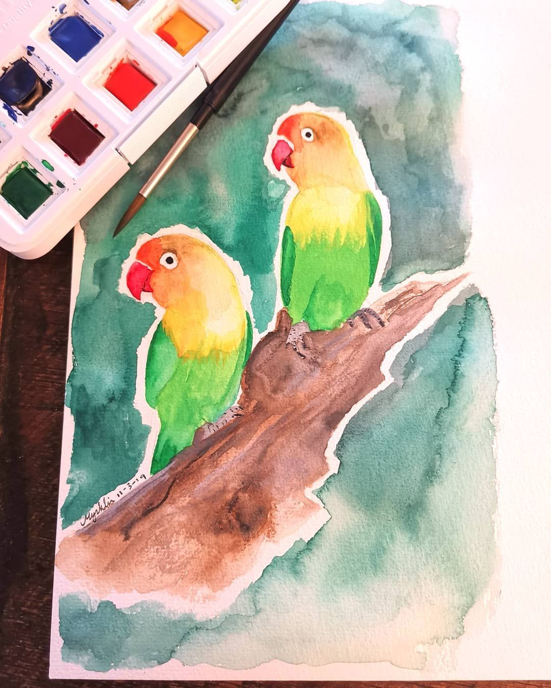 Two Lovebirds On A Stick They Re Actually Agapornises Made With