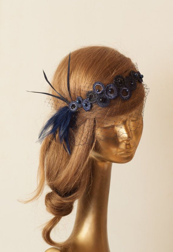 867903adbf663 BIRDCAGE VEIL. Navy Blue Veil .Vintage Wedding Headpiece with ...